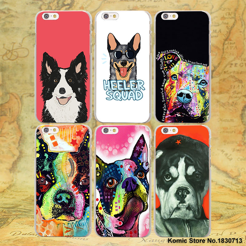 Border Collie Puppy Dog Boston Terrier series hard transparent clear Cover Case for Apple iPhone SE 7 7Plus 5 5s 5c 6s 6 Plus(China (Mainland))