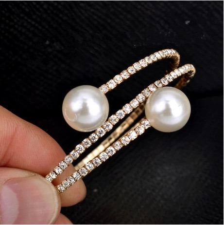 S151 Fashion design lady two pearls crystal multilayer bangles 2 colors available(China (Mainland))