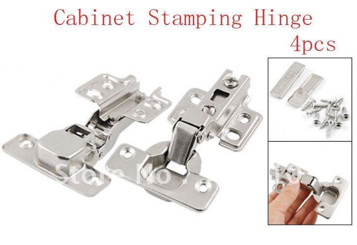 4 Pcs Silver Tone Furniture Hardware Self Closing Closet Drawer Cabinet Stamping Hinge(China (Mainland))