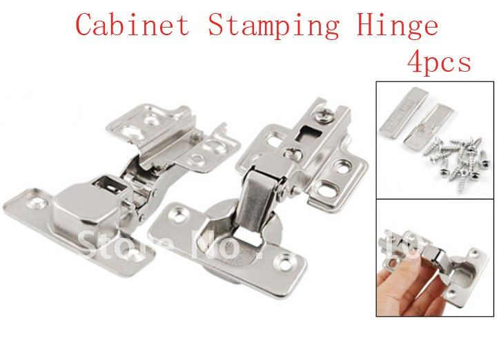 4 Pcs Silver Tone Furniture Hardware Self Closing Closet Drawer Cabinet Stamping Hinge(China (Mainland))