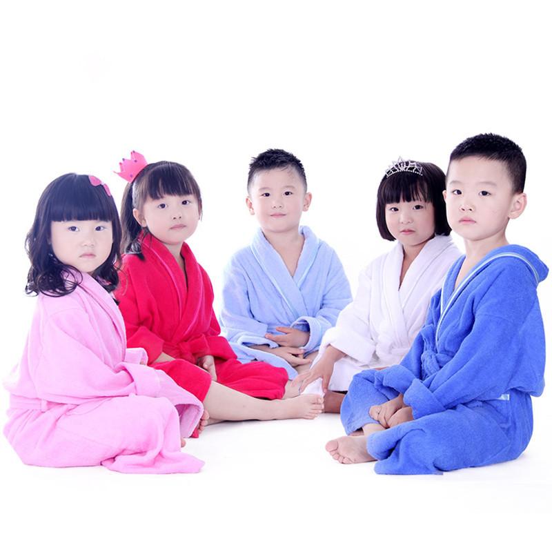 New Style 2015 Kids Robe 1pc 100% Cotton Bathrobe Kids Solid Full Boys and Girls Nightgown Pajamas MMY Brand Childen Bath Robe(China (Mainland))