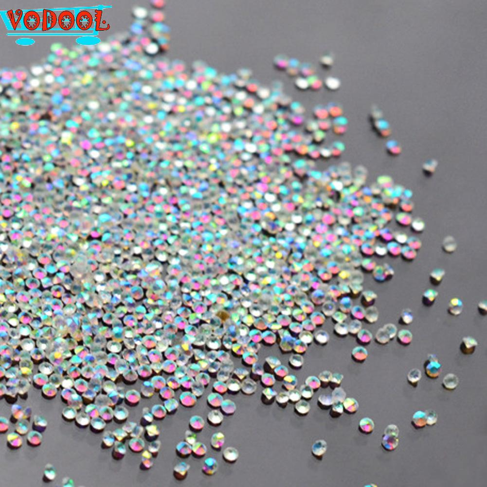 New Arrival 1 bag about 1000pcs 1.0mm Zircon Rhinestones Sharp-Bottomed Micro Crystal Mini Nail Art Rhinestones Nail Accessories(China (Mainland))