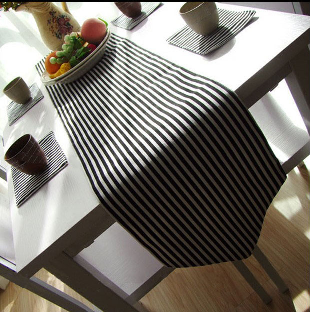 2015 Minimalist Style black and white stripe table runner tablecloth quality canvas table flag for party bed runner WXT827(China (Mainland))