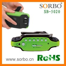 SORBO Digital Alarm Clock FM/MW/SW Radio Powered by Hand Crank as Charger and Flashlight