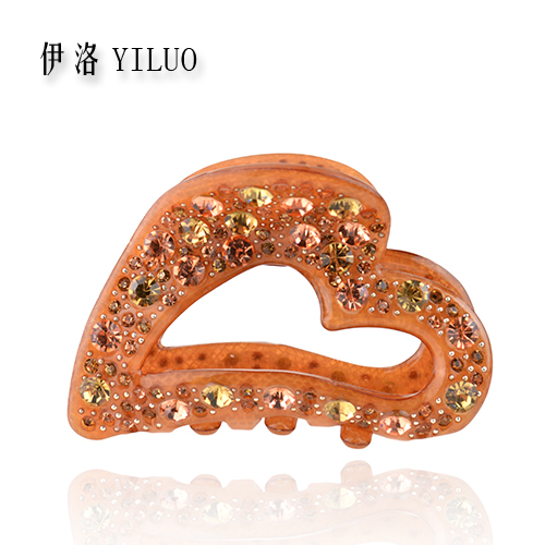Women Hair Aceessories Rhinestone Crystal Hair Clip Lovely Heart Fashion Styling Hair Claw 6.5cm Long FREE SHIPPING(China (Mainland))