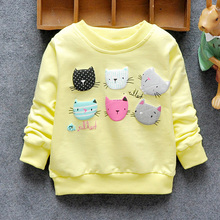 2016 New Arrival Baby Girls Sweatshirts Spring Autumn sweater cartoon 6 Cats long sleeve T shirt