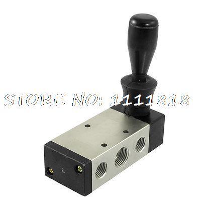 2 Positions Five Ways PT 3/8 Port Hand Pull Pneumatic Mechanical Valve