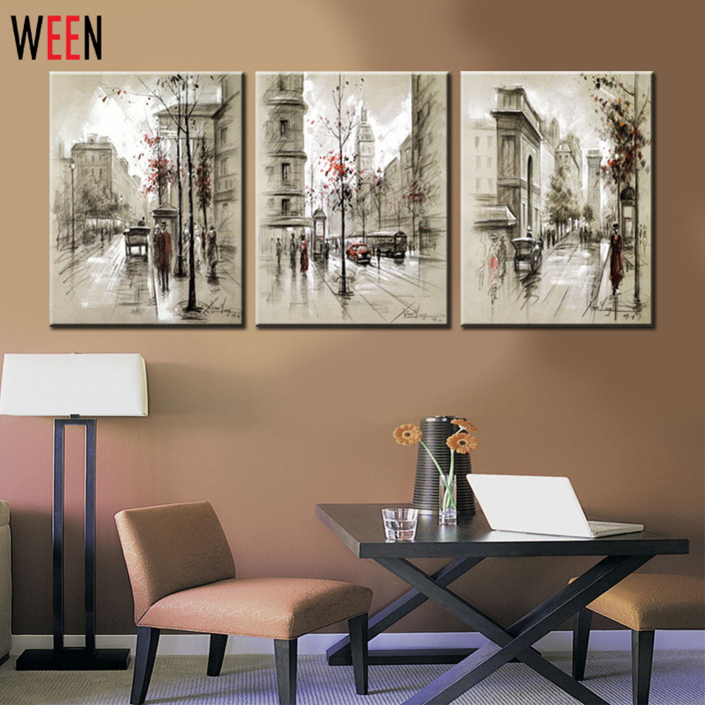 Canvas printings retro city street landscape 3 piece for Cheap framed prints online
