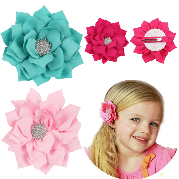 1 Pieces Lotus Baby Girls Hair Clip Satin Diamonds Toddler baby bobby pins Infant Hair clips Baby Hair Flower Accessories W132(China (Mainland))