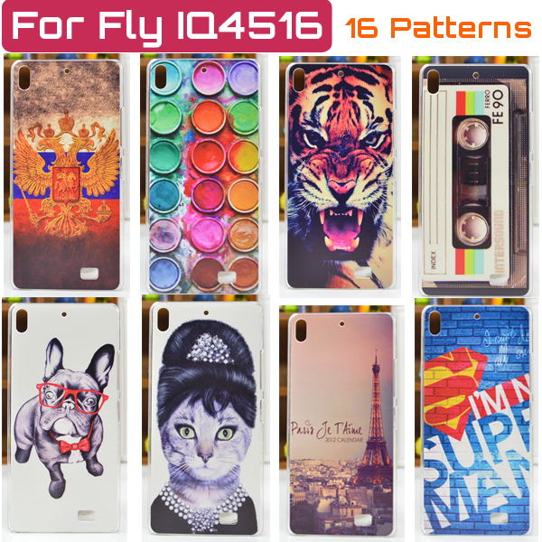 Cover Case for Fly IQ4516 Tornado Slim Octa / 16 Patterns Colored Paiting Case for Fly Iq4516 Free Shipping(China (Mainland))