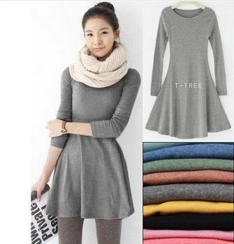 2015 New Fashion Clothes Women Dress 100% Cotton Autumn Winter Dress Female Long Sleeve Dress O-Neck Woolen DressesFree shipping(China (Mainland))
