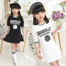 Children's Wear New Girls Large Cotton Long Sleeved Dress Girl Princess Kids Clothing Letters Printing White Black