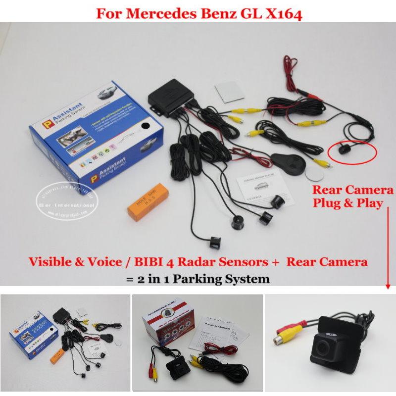 For Mercedes Benz GL X164 - Car Parking Sensors+Rear View Back Up Camera = 2 in 1 Visual BIBI Alarm Parking System Trunk Handle