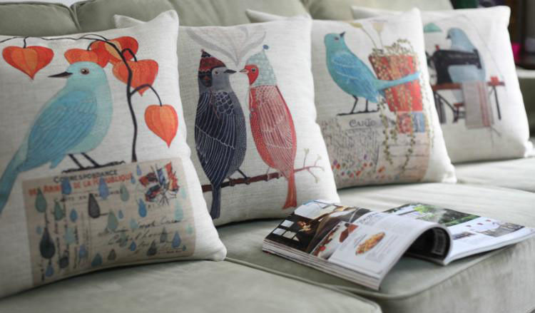 Free Shipping!American Village Flowers And Birds Pillow ,4PCS/ Lot Illustration Cushion Pillows Decorate Sofa Cover Wholesale!(China (Mainland))