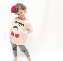 2016 Spring Autumn Long Sleeve Casual Tops Baby Girl Clothing Toddler Cherries Print Pullover Sweatshirts Children Tracksuits(China (Mainland))