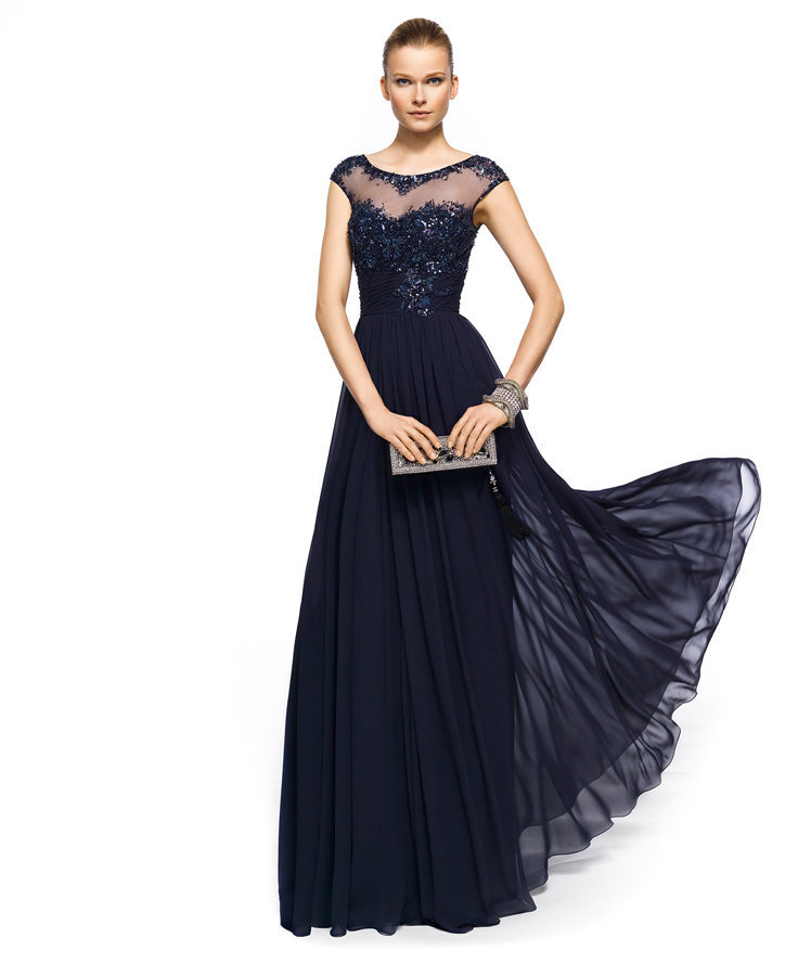 Elegant Cap Sleeve Chiffon Long Evening Gown Fashionable Formal Dresses Appliques with Beading Evening Dress to Party(China (Mainland))