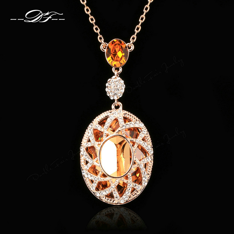Hot Sale Exaggerated Large Crystal Princess Tear Necklaces & Pendants Imitation Gemstone Vintage Jewelry For Women Chains DFN004(China (Mainland))