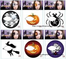 wholesale latest Halloween party tattoo 24 styles temporary Face / body Tatoo Hallowmas eyeshadow 5000pks/lot free DHL shipping(China (Mainland))