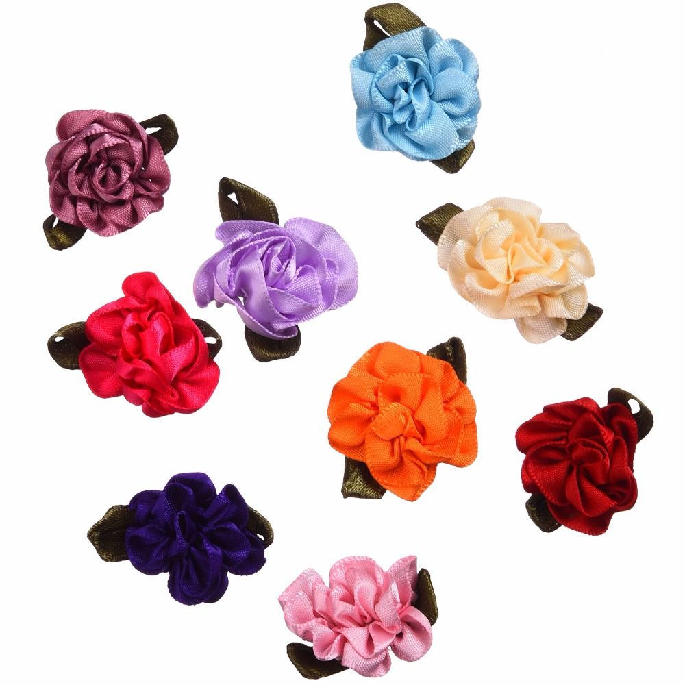 5Mixed Satin Ribbon Flowers Applique DIY Craft Wedding Decoration Hair Accessories - Panbeads-supplies Jewelry Co., Ltd. store