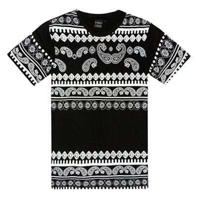 2015 Kanye west unkut Men's bandana cashew flower printed Tee shirts camisa masculina swag Short Sleeved Cotton pyrex t-shirts(China (Mainland))