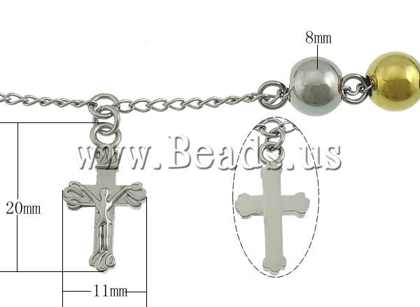 Free shipping!!!Stainless Steel Jewelry Bracelet,Trendy, stainless steel lobster clasp, Cross, gold color plated, two-tone, 8mm
