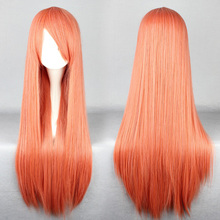Free Shipping 80cm Wan with long straight hair Orange Pink   Cosplay Costume Wig(China (Mainland))