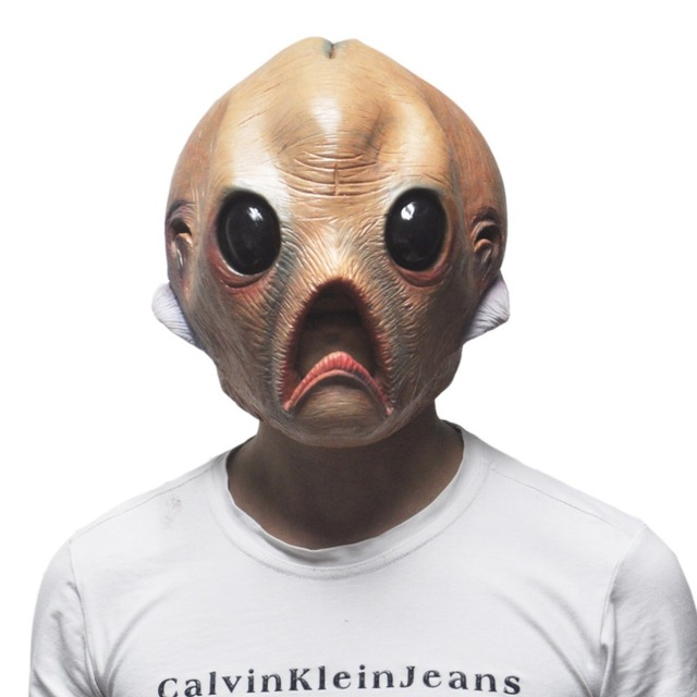 Scary Face Mask Alien Extra Terrestrial Horror Rubber Latex Masks For Halloween