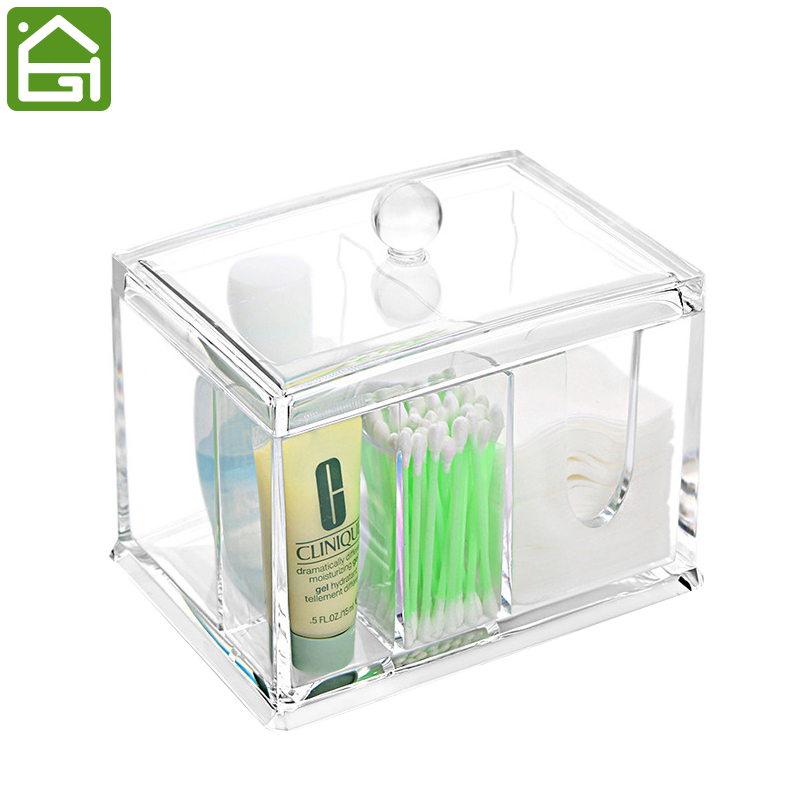 Acrylic Cosmetic Organizer Bathroom Makeup Organizer 3 Compartments for Cotton Balls Cotton Swabs and other Accessories(China (Mainland))