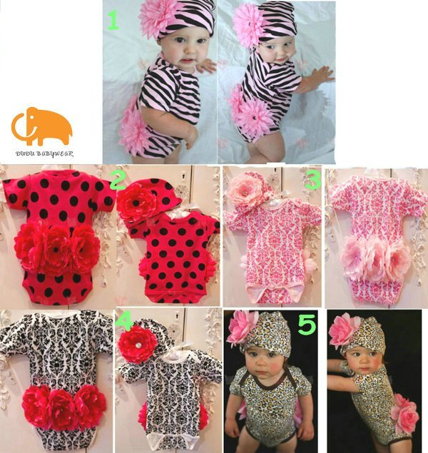 Free shipping+retail,baby girl short sleeve rompers,baby rompers set(jumpsuits+hat),big flower,infant summer wear