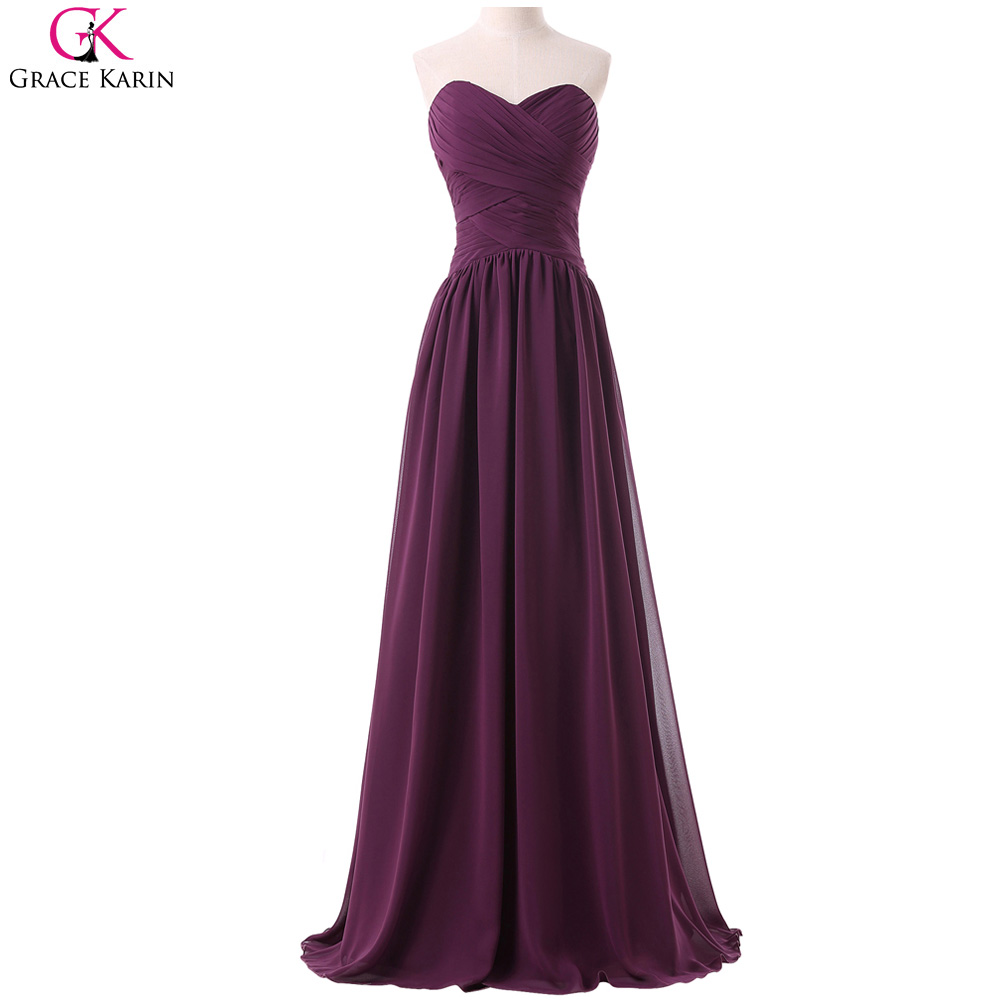 Long chiffon bridesmaid dresses grace karin strapless for Elegant wedding party dresses