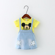 New! baby child clothes 2016 summer infant kids denim dress lovely girls t-shirt strap dress chic style baby girl dress hot sale(China (Mainland))