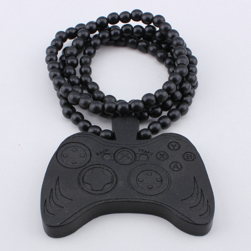 Game Machine Handle Necklace GOOD WOOD Beads Pendant Wooden Necklaces Hip Hop Fashion Jewelry Gift MT143(China (Mainland))