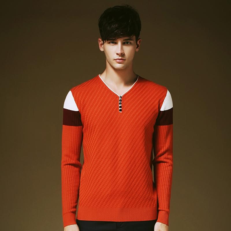 Solid color pullover men v neck sweater mmen long sleeve for Mens long sleeve pullover shirts