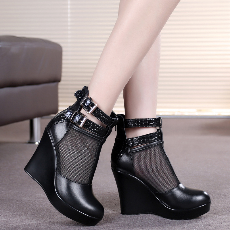 genuine leather female spring and autumn boots cutout mesh high-heeled shoes wedges boots women