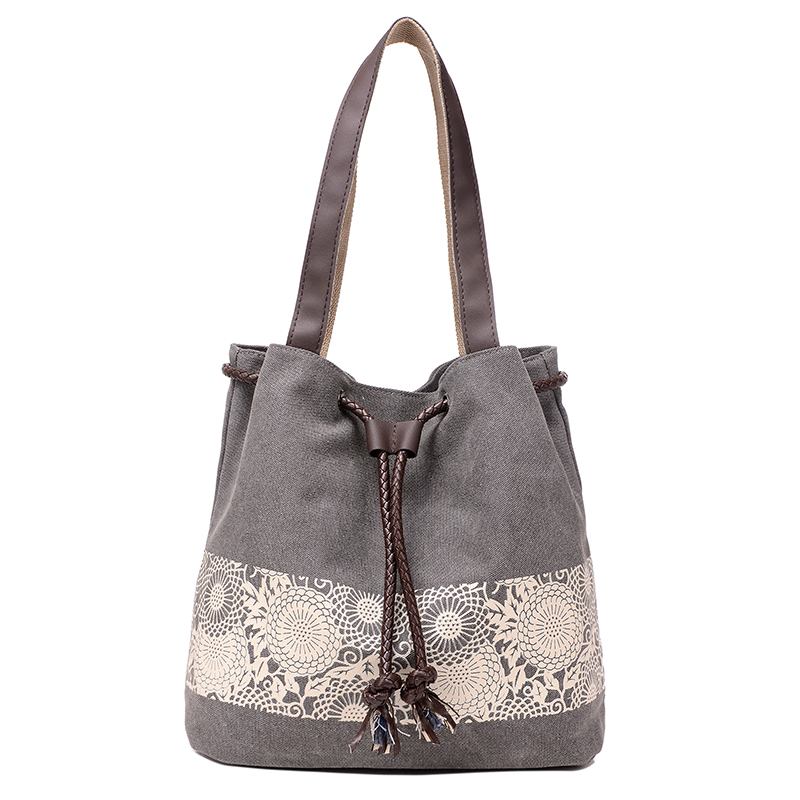 Women Floral Canvas Bucket Casual Shoulder Bag Spanish Beach Bags Women String Shopping Handbags Lace Printing Bag Female Bolso(China (Mainland))