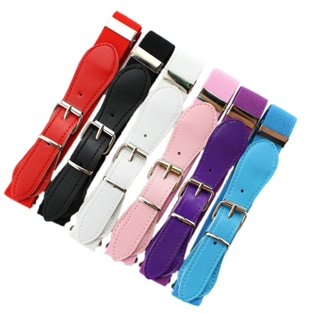 Retail new 2015 fashion Candy Color 1 Inch Wide Kids/Children Elastic Waist Belt For Boys/Girls