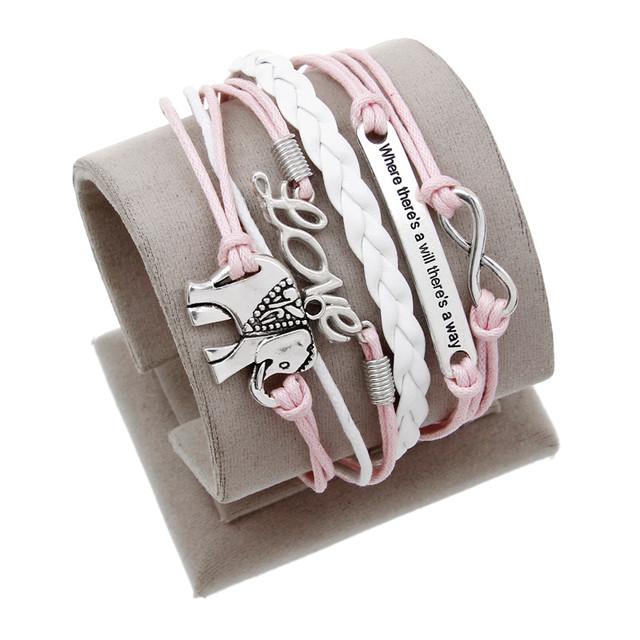 Ювелирные изделия кожаные розовый Слон любовь Двойного бесконечного многослойные ...
