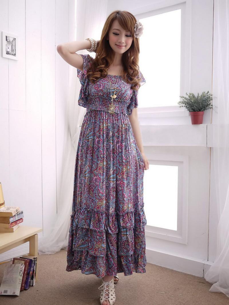XL~4XL 2014 Summer Ladies Plus Size XXXXL Floral Ruffled Short-sleeve Pleated Bohemia High Waist Beach Slim Cotton Dresses - Yagle Fashion Center Co., Ltd store
