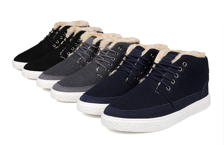 men shoes The new warm winter plus velvet black blue gray three-color plus hair brushed lint Men's Shoes free shipping global(China (Mainland))