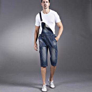 Мужчины в деним шорты свободного покроя вкладыш комбинезон без тары комбинезоны нагрудник ...
