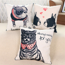 Dog Cat Cushion Covers Throw Pillow