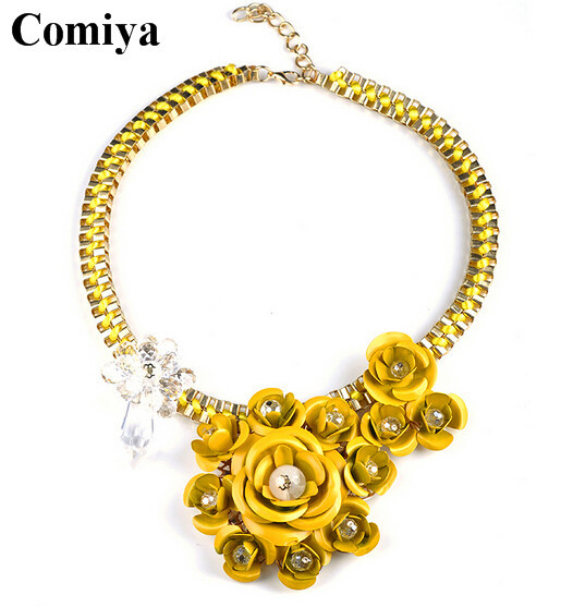Aliexpress top quality vintage accessories necklace statement Flower Rope and Gold plated Chains Necklaces Hot sellings collars(China (Mainland))