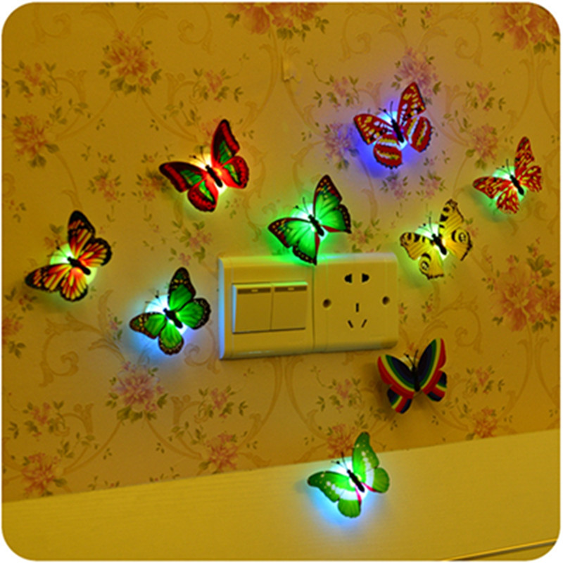 Excellent Quality 1PCS 7 Colors Lovely Changing Beautiful Cute ABS Butterfly LED Night Light Lamp Home Decorate(China (Mainland))