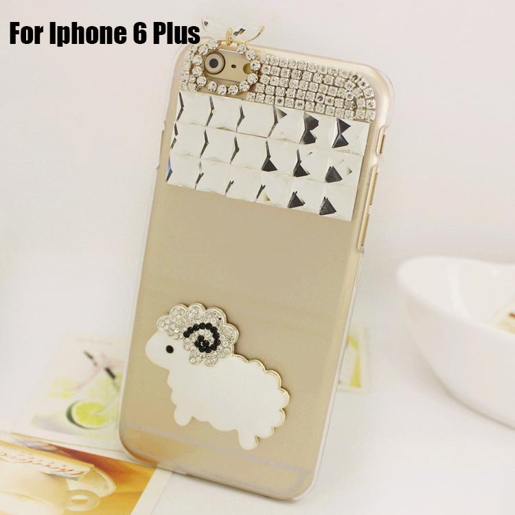 New Arrival DIY Cute Sheep Luxury Bling Crystal Rhinestone Cell Phone Case For Apple Iphone 6 Plus Cover(Hong Kong)