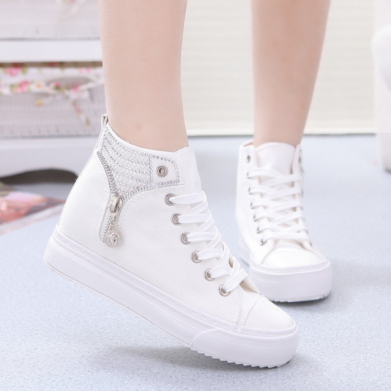 2015 New High Quality Summer Style Fashion White Lace-up Platform Sneakers Canvas Shoes For Women Sunning Skate Flats Feminino(China (Mainland))