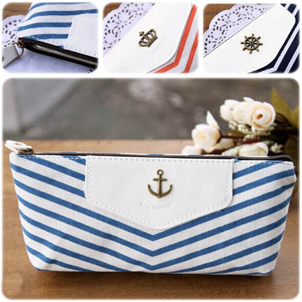 Creative Navy Canvas Pencil Bag Students Stripped Pencil Cases Stationery Office Supplies Makeup pounch 2015 New Arrival OP2002(China (Mainland))