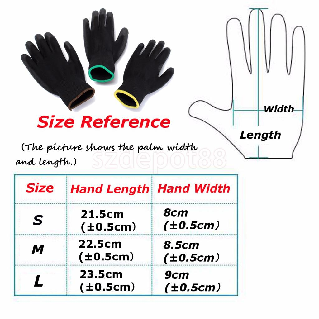 6 Pairs Nylon PU Safety Coating Work Gloves Builders Grip Palm Protect S M L