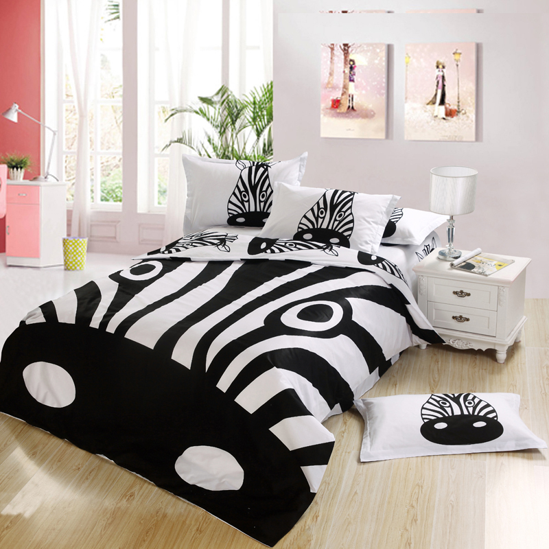 Black and white zebra print Kids cartoon bedding bedroom sets king for queen full twin size bed sheets duvet(China (Mainland))