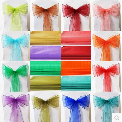 New Organza Chair Sashes Bow Fabric Wedding And Events Supplies Party Decoration Free Shipping(China (Mainland))