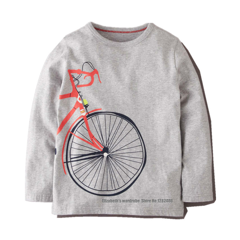 Autumn kids boys round neck long sleeve T shirt printed cute bicycle wheels pattern, children clothing for 1.5 - 6 yrs(China (Mainland))
